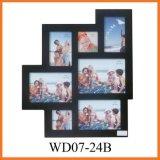 Раскрывая черная деревянная рамка фотоего коллажа стены 7 вися (WD07-24B)