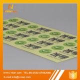 Etiqueta engomada transparente de la venta de la impresión de encargo caliente de la insignia