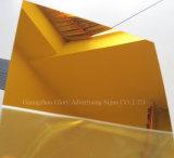prata de 1mm e folha acrílica dourada do espelho
