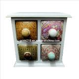 Boîte de bijoux en céramique colorée, tiroirs 2x2 (GW1728)