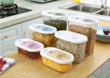 O tanque de armazenamento plástico do alimento da cozinha desobstruída com cereais plásticos Crisper/BPA da grande capacidade do copo livra