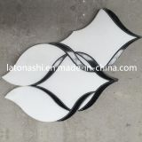 Calacatta Goldmarmor-Wasserstrahlmuster, weiße Marmorkorbgeflecht-Mosaiken