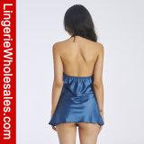 섹시한 여자의 레이스 공단 등이 없는 Halterneck 셔츠 모양 잠옷 란제리 세트