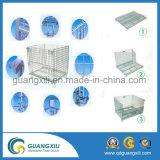 Recipiente de rolo de malha metálica dobrável para armazenamento de paletes de armazém