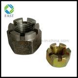 Noix encochée par hexa Hex galvanisé de la noix de château d'acier du carbone DIN935