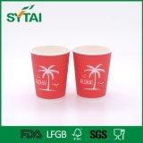Kräuselung-rotes Cup-erstklassige Qualitätspapier-Wegwerfkaffeetasse mit Kappe