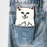 Tampa traseira de borracha macia de gato do bolso do dedo médio dos desenhos animados