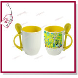 12oz Sublimation Ceramic Colored Spoon Mug com Printing