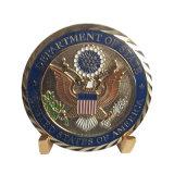 민감한 다이아몬드 가장자리를 가진 금에 의하여 도금되는 대사관 동전