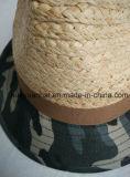 홈 같은 녹색 중절모 모자를 가진 60%Raffia Straw30%Cotton10%Polyester