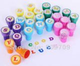 Color de plástico mango de juguete de tinta de caucho sello para los niños
