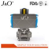 Gesundheitliches Gewinde-Kugelventil des Edelstahl-3PCS mit Stellzylinder