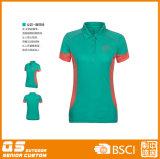 T-shirt de collet de polo du panneau des femmes