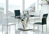 Moderne Eettafel, de Basis van het Roestvrij staal met de Aangemaakte Bovenkant van het Glas