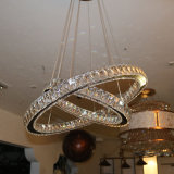 Lámpara pendiente moderna cristalina de lujo redonda dos para el proyecto del hotel