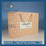 Polka cor-de-rosa DOT Craft Paper Bag para Ladies Shopping