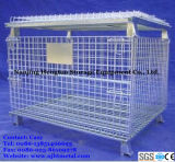 Warehouse StorageのためのWheelsのFoldable Steel Wire Mesh Cage
