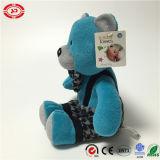 Urso azul com o brinquedo bonito do urso da peluche dos miúdos do Suspender