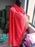 女性の長い袖純粋なカラーふさのスラッシュのブラウスはワイシャツを越える