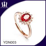 Anillo de bodas rojo corindón de piedras preciosas de novia