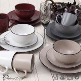 16PCS Round Matte con Black Rim Ceramic Dinner Set