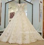fora do ombro de esfera do vestido da catedral do trem do laço dos cristais do vestido 2017 de casamento completo nupcial H1352