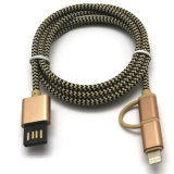 2 in 1 Nylon umsponnenem USB-Kabel für iPhone/Samsung