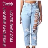 Sackartige hellblaue hohe Waisted Frauen-Denim-Jeans (L456)