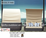 Foshan Factory Outdoor Garden Furniture Rattan Beach Sunbed com Canopy