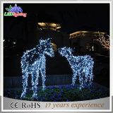 Sleigh 장식적인 LED 크리스마스 주제 빛을%s 가진 아름다운 제 2 순록