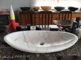 Lavabo Shaped de salle de bains de meubles de cuisine de pétale de marbre blanc de triangle de Carrare