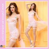 섹시한 백색 양말데님 꽃 레이스 Chemise 란제리 신부 베일 투명한 밤 착용 크리스마스 여자용 속옷 란제리