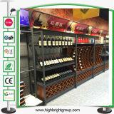 Estante de madera del vino del metal del supermercado de lujo