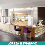 Mobília em forma de L dos gabinetes de cozinha da cor da natureza (AIS-K292)