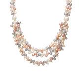 真珠のチェーンネックレス、金の長い鎖の真珠のネックレス、現代真珠のネックレスデザイン