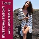 Gestreifte lose Knit-Wolljackereizvoller Beachwear (L38366)