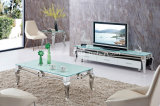2016 Meubles de salon Table basse en verre table à thé en acier inoxydable avec des jambes