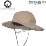 女性の女性方法大きい縁の可逆水平のしまのあるバケツの帽子
