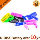Il silicone su ordinazione di marchio mette in mostra il USB Pendrive (YT-6301L) del Wristband/braccialetto