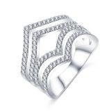 개인화된 은에 의하여 도금되는 CZ 다이아몬드 보석 반지 (CRI1022)