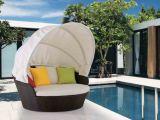Кровать салона бассеина кровати ротанга балкона крыши Sandy лежа