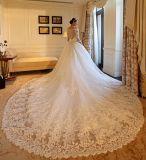 2017 vestidos de esfera nupciais do laço 3/4 de vestido de casamento conservado em estoque Z2009 das luvas longas