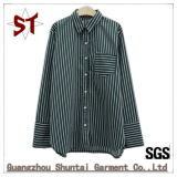 Großhandelsfrauen's-täglich beiläufiges gestreiftes Hemd-beiläufiges Kleid-Hemd