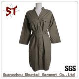 юбка Shirrt напольного V-Ворота отдыха 100%Polyester длинняя с поясом для женщин