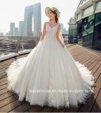 Laço Sleeveless dos vestidos nupciais que perla o vestido de casamento inchado Tb418