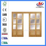 Раздвижные двери нутряного Louvered шкафа деревянные стеклянные