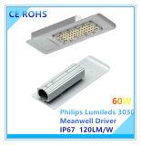 Luz de calle Ultra-Delgada de 90W Philips Lumileds con el programa piloto de Meanwell