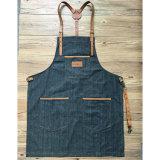 Aventais pretos do trabalho da sarja de Nimes de Multifuction do vintage com os bolsos feitos sob encomenda