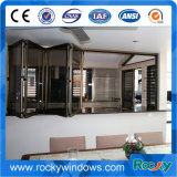 Doppeltes glasig-glänzendes faltendes Aluminiumglasfenster mit Gitter-Entwurf