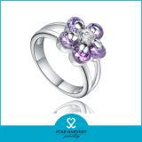 Elegante silberne Ring-mit Blumenschmucksachen für freie Probe (R-0252)